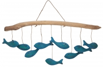 Mobile made of wood, handmade in Indonesia - Fish swarm