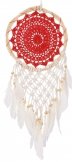 dreamcatcher with crocheted lace - red 22 cm