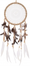 dreamcatcher with crocheted lace - white 22 cm