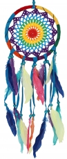 Dreamcatcher rainbow with crocheted net - colorful 17 cm
