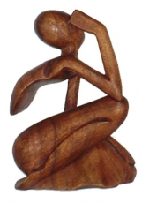 wooden figure, statue, decoration object Feng Shui - `thinker`