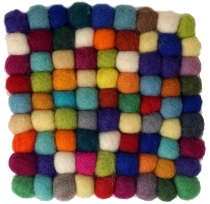 Felt coaster, square - multicoloured 10*10 cm
