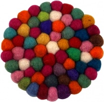 Felt coaster, round - multicoloured Ø 10 cm