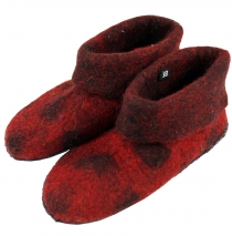 felt slippers dot - red