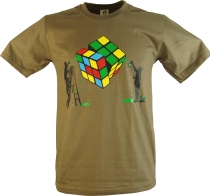 Fun T-Shirt `The magic of the cube` - brown