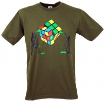 Fun T-Shirt `The magic of the cube` - olive