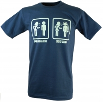 Fun T-Shirt `Problem solved` - blue