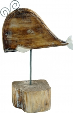 Carved wooden figure whale, Moby Dick 2, on wooden metal stand - ..