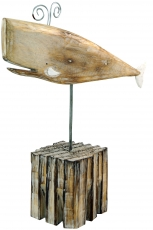 Carved wooden figure whale, Moby Dick 3, on wooden metal stand - ..