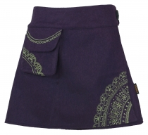 Goa wrap skirt, embroidered cacheur of wool felt - purple