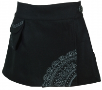 Goa wrap skirt, embroidered cacheur in wool felt - black