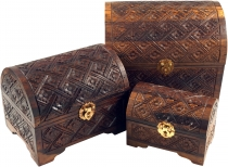 Half-round carved small treasure chest, wooden box, jewelry box i..