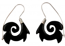 Wooden earring with silver setting SH-20