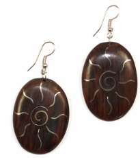 Wooden earring with silver inlays