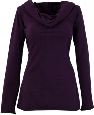 Hoody Boho chic, long sleeve shirt with shawl collar - plum