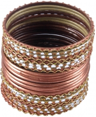 Indian Bangle`s bracelets 24 pcs copper coloured - model 3
