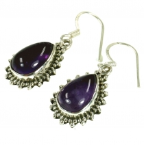 Indian Boho silver earrings, drop shaped earrings - Amethyst