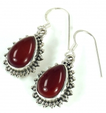 Indian Boho silver earrings, drop shaped earrings - Carnelian