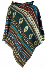 Inca Poncho with hood, Goa Hippie Boho Poncho - fir green