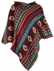 Inca Hooded Poncho, Goa Hippie Boho Poncho - wine