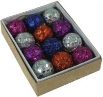 12 small glitter balls in 3 colour variations
