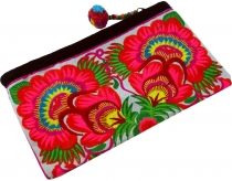 cosmetic bag with folklore embroidery - pink/white
