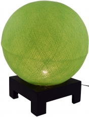 Ball table lamp with MDF stand made of cotton threads - light gre..