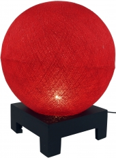 Ball table lamp with MDF stand made of cotton threads - red