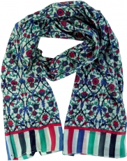 Light scarf, colourful cotton cloth from India - aqua