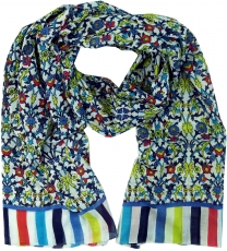 Light scarf, colorful cotton cloth from India - blue