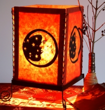Lokta paper table lamp, square table lamp - moon red