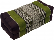 Meditation cushion, Thai neckrest square with kapok - brown/green