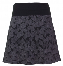 mini skirt, boho circle skirt autumn leaves print organic - black