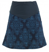 Mini Skirt, Boho Plate Skirt Organic - blue