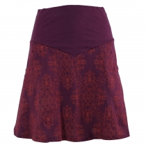 Mini skirt, Boho circle skirt organic - bordeaux