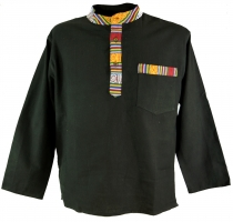 Nepal ethno fisherman shirt, Goa shirt - black