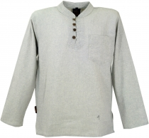 Nepal ethno fisherman shirt with coconut buttons, Goa shirt, casu..