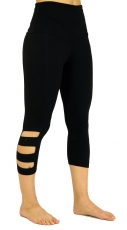 3/4 Psytrance Goa Ladies Leggings, Festival Party Pants - black