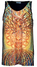 Psytrance Tank Top, Men Top - flower of life in the tree of life