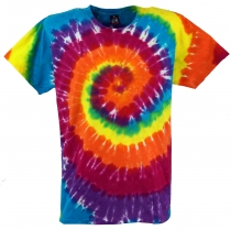 Rainbow Batik T-Shirt, Men Shortsleeve Tie Dye Shirt - Spiral 2