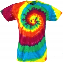 Rainbow Batik T-Shirt, Men Shortsleeve Tie Dye Shirt - Spiral 3