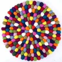 Round felt coaster made of small felt balls - Ø 30 cm