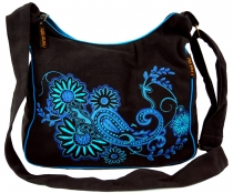Shoulder bag, Hippie bag, Goa bag - black/blue