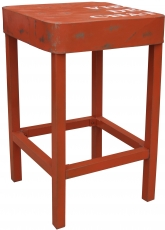 Standing table, side table in lacquered metal - orange