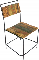 Chair in recycled teak and metal frame - model 8