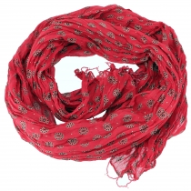 Indian cotton scarf, light scarf with gold print - red/black