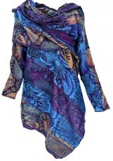 Wide cape, convertible wrap jacket Boho chic - blue/purple/orange