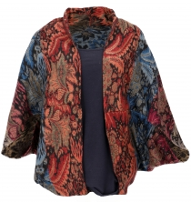 Cocoon Cardigan, open jacket in oversized form - blue/multicolour..