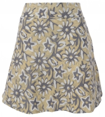 reversible skirt, Boho mini skirt - grey/mustard