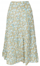 tiered skirt, comfortable boho summer skirt - aqua
